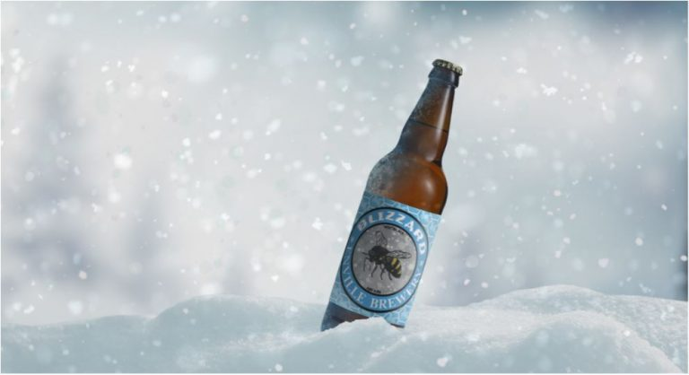 Enville Ales brewery blizzard bottle in cold snow