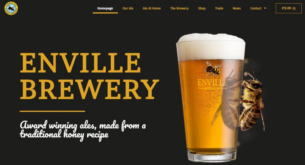 Screen capture of the Enville Ales brewery website